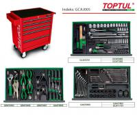 Vozík na náradie s vybavením Tools trolley with equipment, number of tools 164 pcs, number of equiped drawers 3, insert type: plastic, series GENERAL SERIES, colour red, (number of all drawers: 5)
